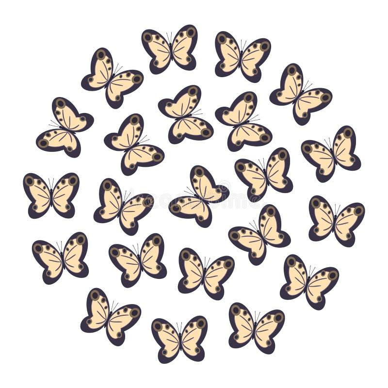 Fjärilsguling med svart på vit bakgrund royaltyfri illustrationer