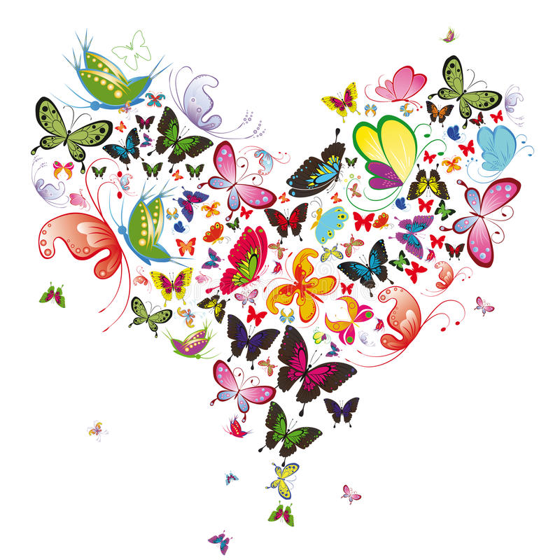fjärilshjärta stock illustrationer