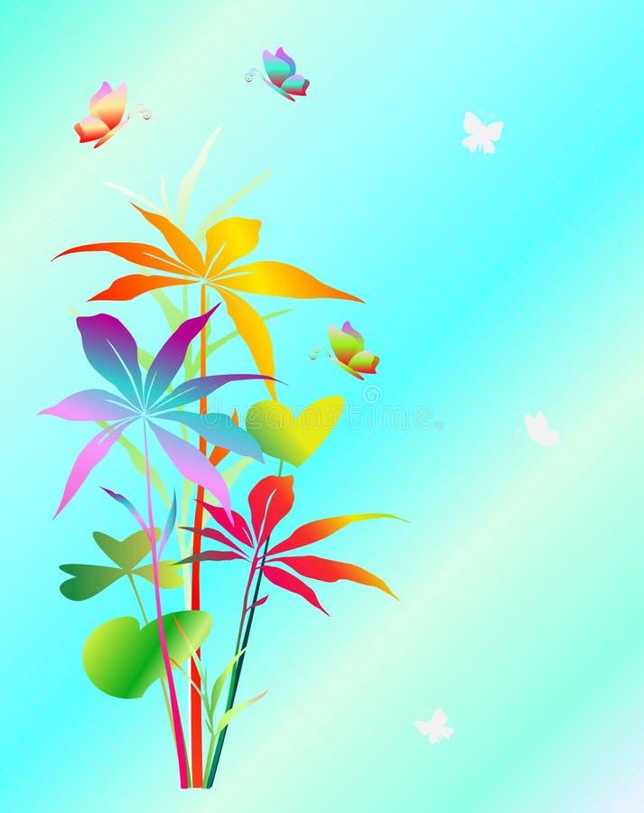 Fjärilsillustrationer av växter stock illustrationer
