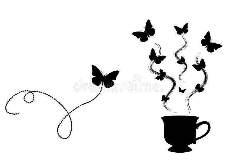 fjärilskaffe stock illustrationer