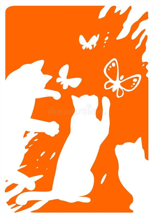 fjärilskatter tre stock illustrationer