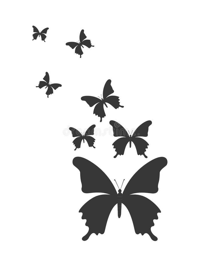 Fjärilskonturdesign vektor illustrationer