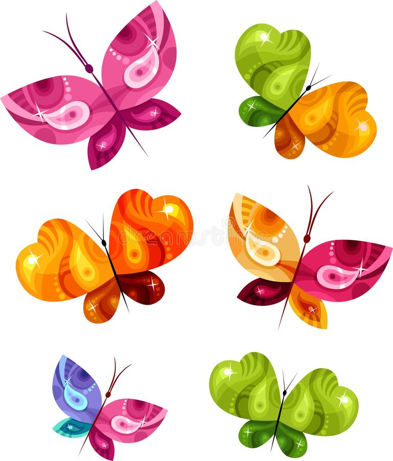 fjärilskort vektor illustrationer