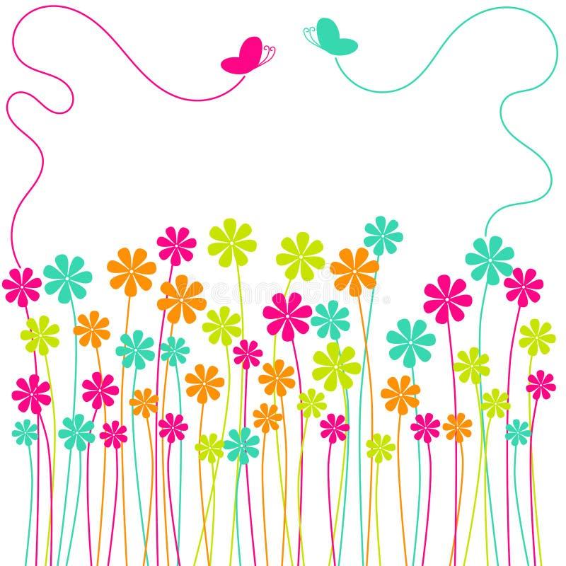 fjärilskortfältet blommar hälsningsfjädern royaltyfri illustrationer