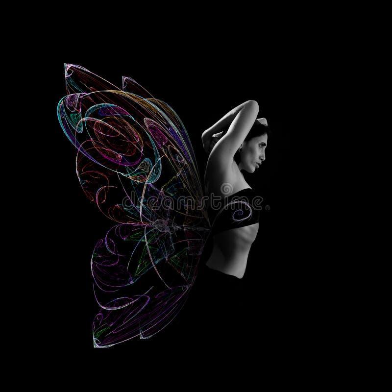 fjärilskvinna royaltyfri fotografi