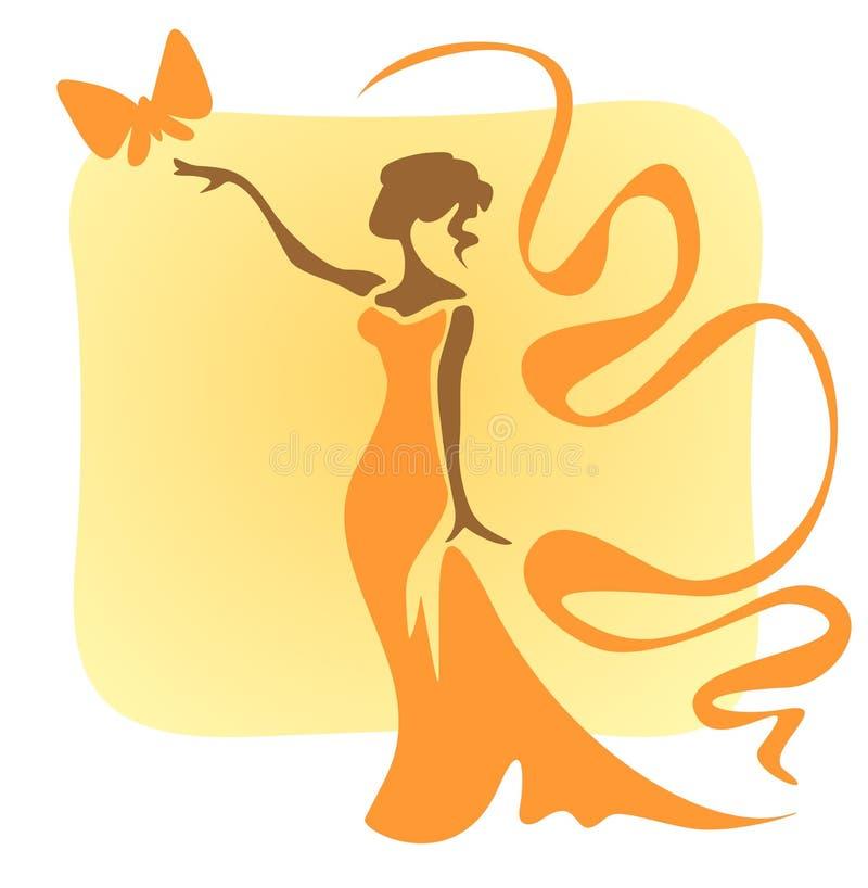 fjärilskvinna vektor illustrationer