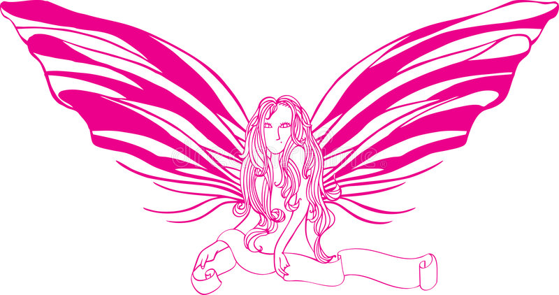 fjärilslady stock illustrationer