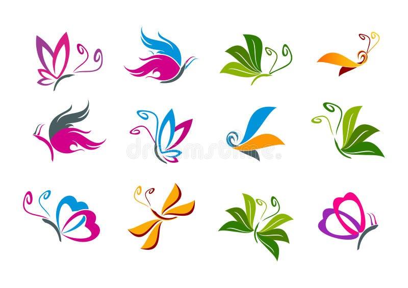 Fjärilslogodesign royaltyfri illustrationer