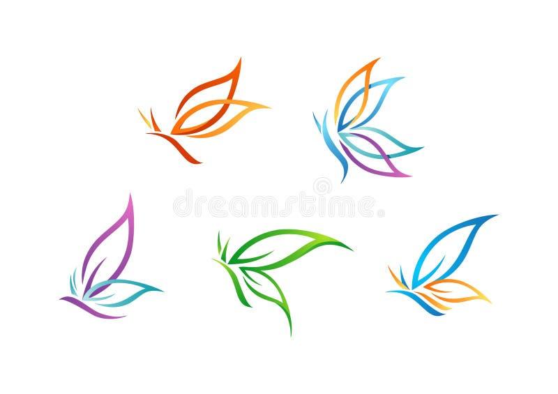 Fjärilslogoen, skönhet, brunnsorten, livsstilomsorg, kopplar av, yoga, abstrakt begreppvinguppsättning av vektorn för symbolsymbo royaltyfri illustrationer