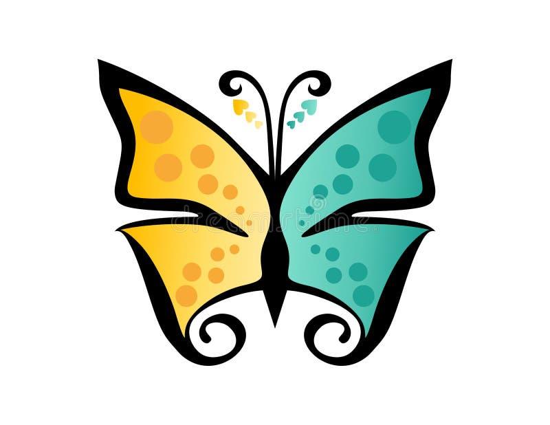 Fjärilslogoen, skönhet, brunnsorten, omsorg, kopplar av, yoga, abstrakt symbol royaltyfri illustrationer