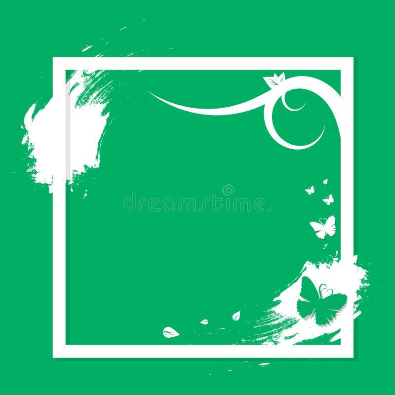 Fjärilsnaturram med abstrac för begrepp för grungeborstemode vektor illustrationer
