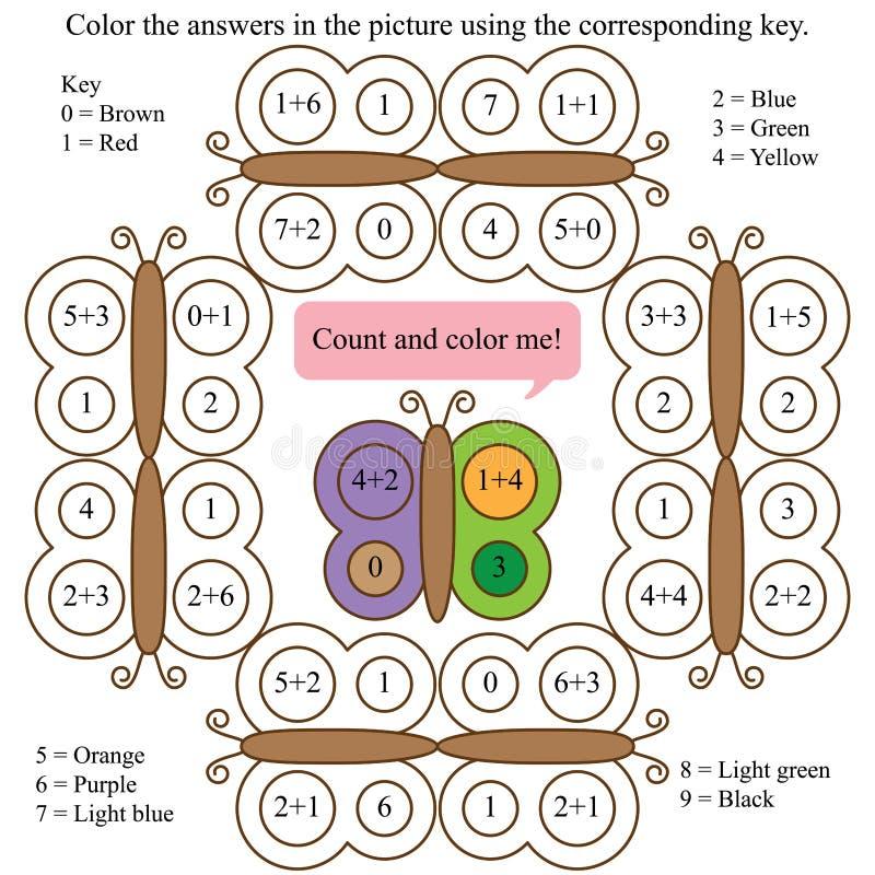 Fjärilsräkningen och färgar mig funderarematematik royaltyfri illustrationer