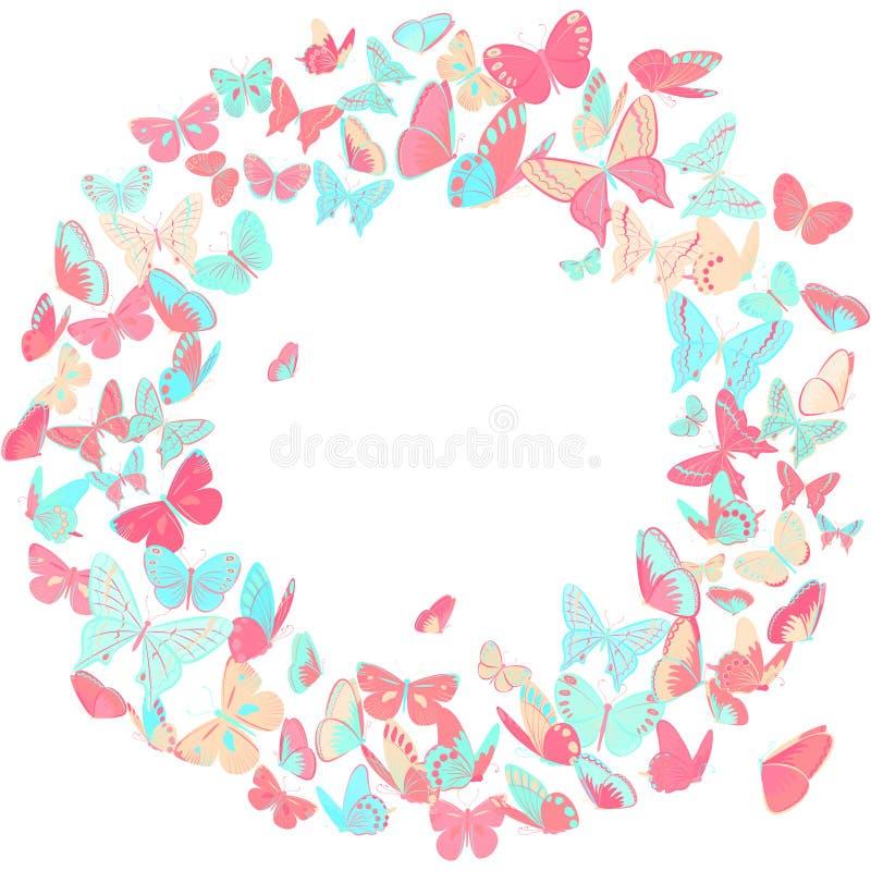 Fjärilsram, kransdesignbeståndsdel i rosa färger och blått vektor illustrationer