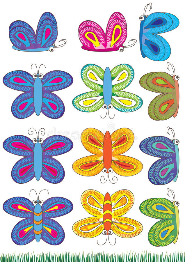 fjärilssets stock illustrationer