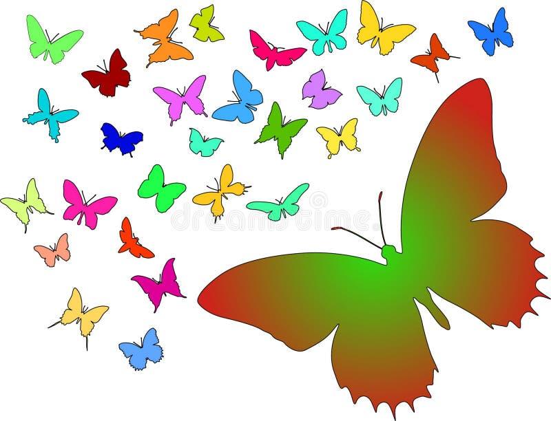 fjärilssilhouettes vektor illustrationer