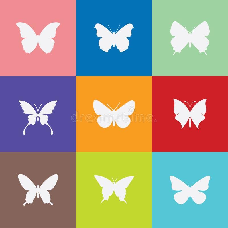 Fjärilssymbol på colorfullbakgrund stock illustrationer