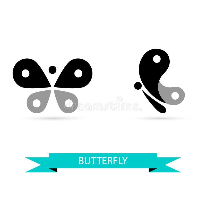 Fjärilssymboler, vektorsymboler royaltyfri illustrationer