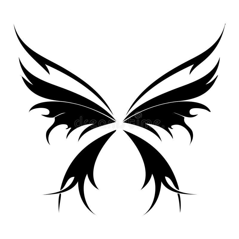 fjärilstatoo vektor illustrationer