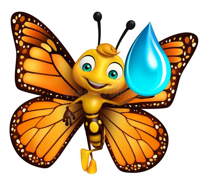 Fjärilstecknad filmtecken med vattendroppe stock illustrationer