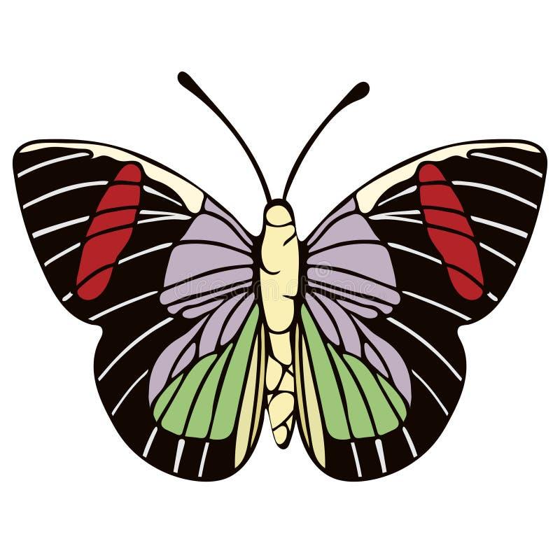 Fjärilstecknad filmteckning, vektorillustration Abstraktion dragen fjäril med rött, grönt, lila, svartvingar som isoleras på vit royaltyfri illustrationer