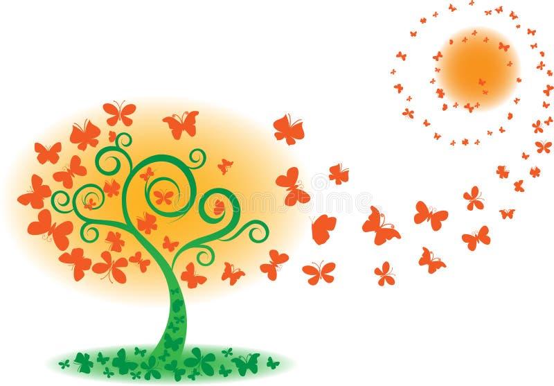 fjärilstreevektor royaltyfri illustrationer
