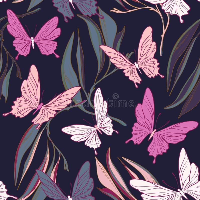 Fjärilstygmodell Lövverkleves och härliga flyga kryp fjädrar objekt Sommartorkduk, dekorativ tappning royaltyfri illustrationer