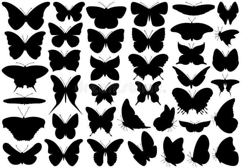 Fjärilsuppsättning vektor illustrationer