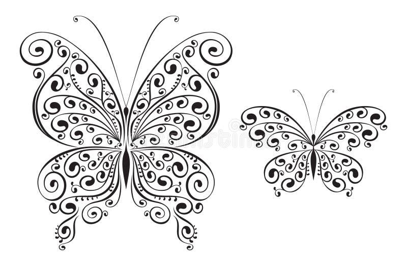 fjärilsvektor stock illustrationer