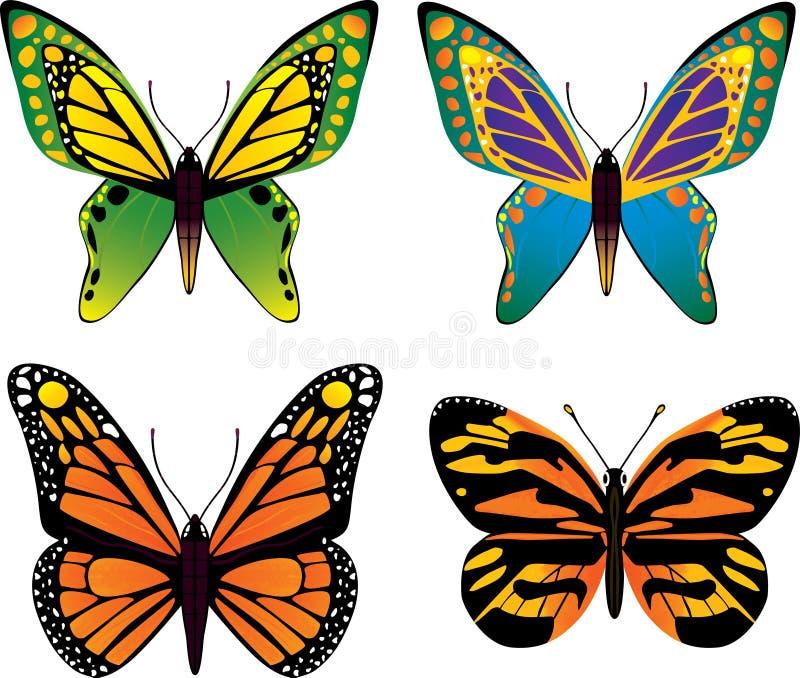 Fjärilsvektorset stock illustrationer