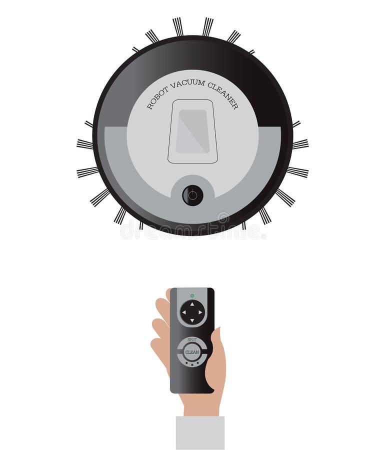 Fjärrkontroll av robotic dammsugare royaltyfri illustrationer