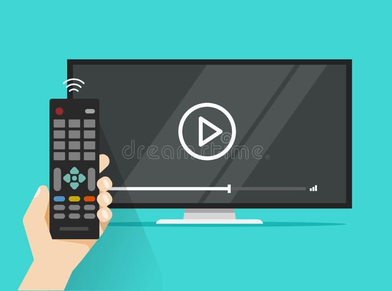 Fjärrkontroll i hand nära filmen för tv för plan skärm den hållande ögonen på videopd, film eller film för tecknad filmdesignpers stock illustrationer