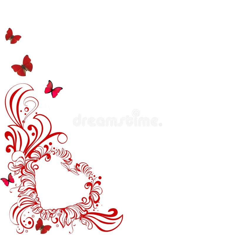 fjärilshjärtared stock illustrationer