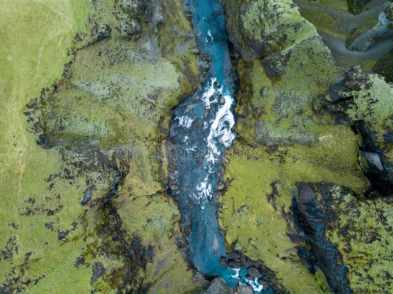 Fjadrargljufur峡谷冰岛` s史诗峡谷南冰岛 免版税库存照片
