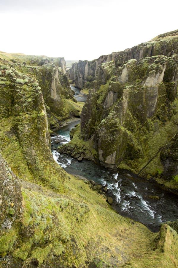 Fjadrargljufur kanjon, Island, södra Island, grön bedöva sikt en av den mest härliga kanjonen fotografering för bildbyråer
