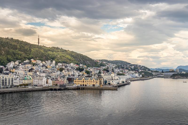 View of the Port of Alesund in the evening at summer, Norway stock images