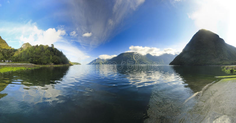 Fjord in chilean mountains at sunrise stock photography