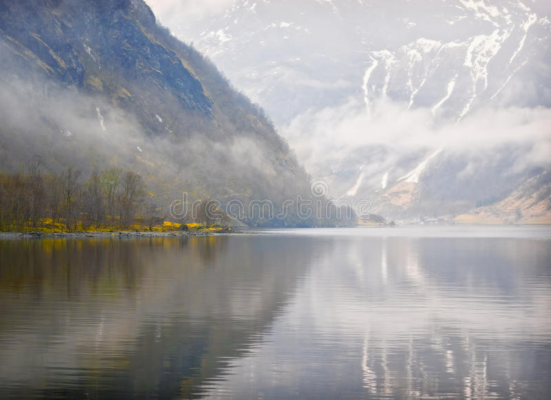 Fjord in Fog and Mist, Norway stock image