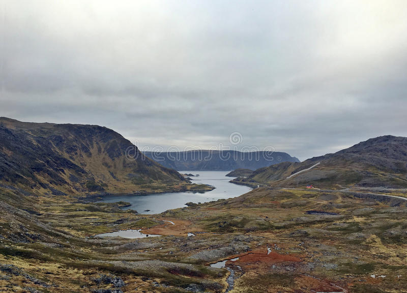 Fjord i tundra w Norwegia zdjęcia stock