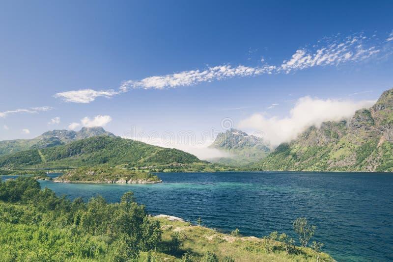 Fjord krajobraz z górami w Lofoten fotografia stock