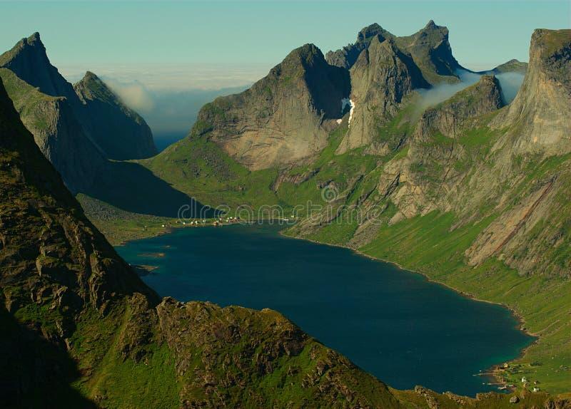 Fjord on Lofoten Islands, Norway royalty free stock images