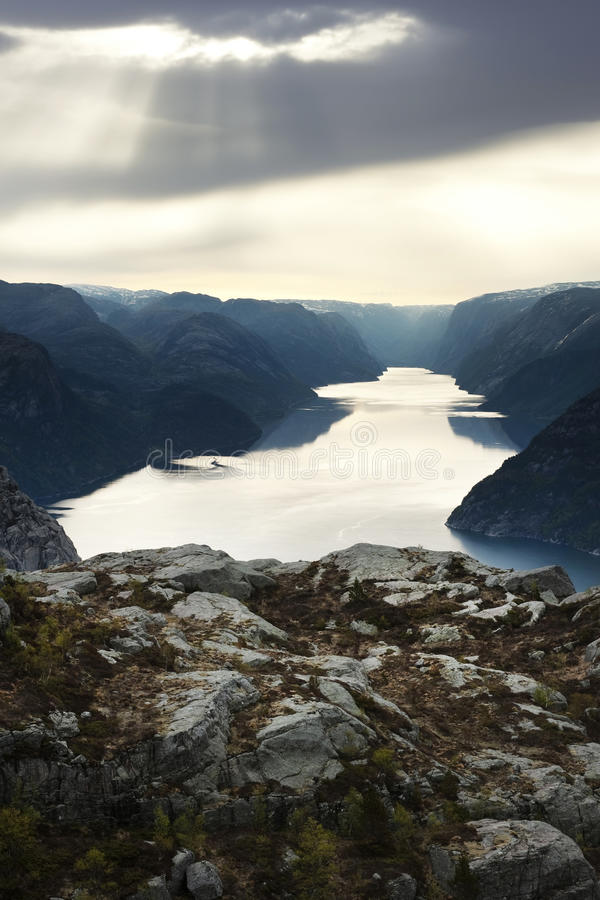 Download Fjord in misty weather stock photo. Image of current - 22561100