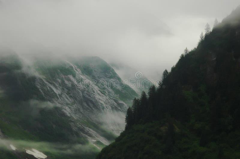 Fjord in morning mist stock photo