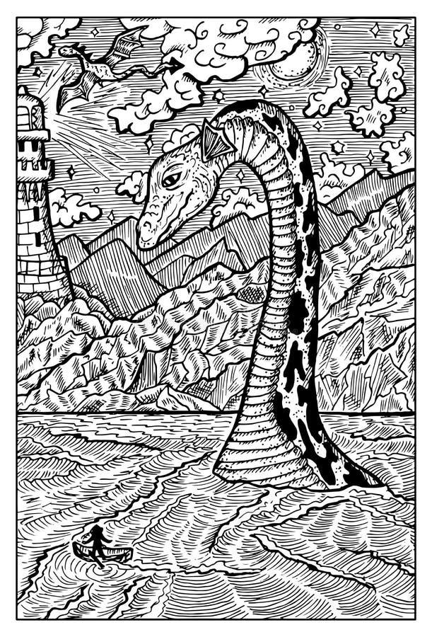 Fjord Ness Lake Monster Nessie royaltyfri illustrationer
