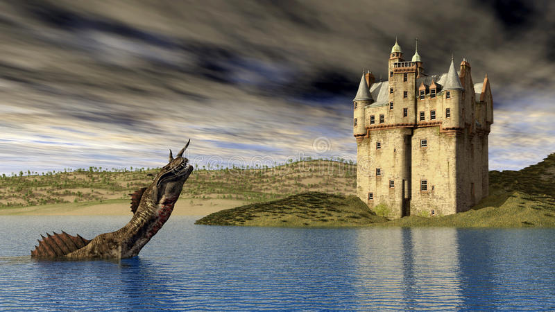 Fjord Ness Monster och skotsk slott stock illustrationer