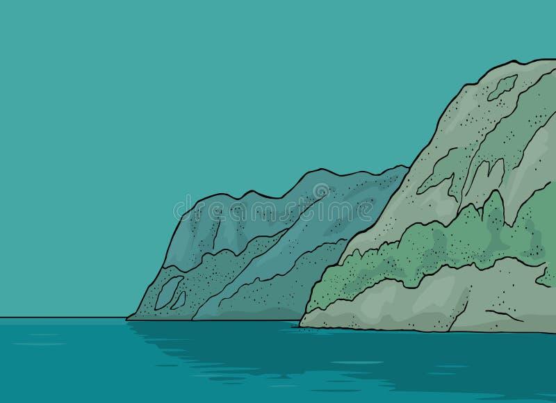 fjord norway Gravyr för tappningvektorfärg vektor illustrationer