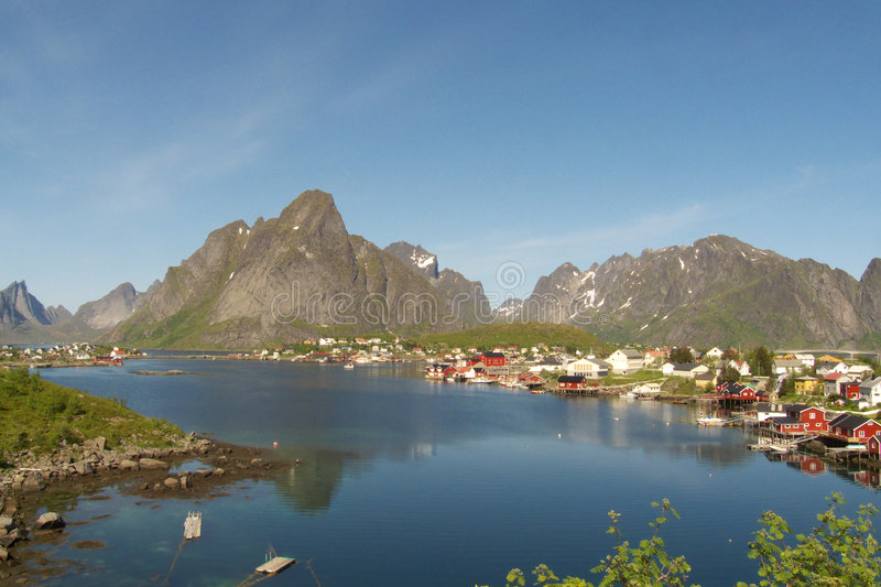 The fjord of Reine in Lofoten royalty free stock image