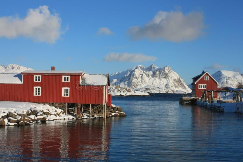 Fjord of Stamsund. Some fisherman's cabins in the fjord of Stamsund, Lofoten islands stock photo