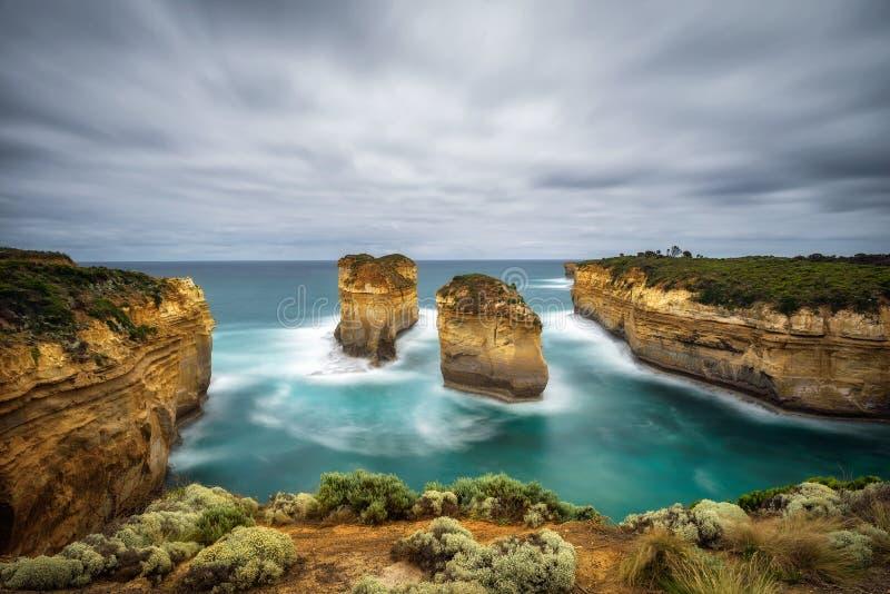 FjordArd klyfta i Victoria, Australien, nära port Campbell arkivfoton