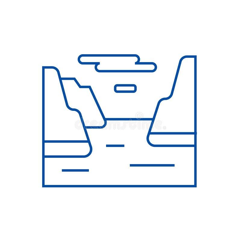 Fjordlinje symbolsbegrepp Plant vektorsymbol för fjord, tecken, översiktsillustration vektor illustrationer
