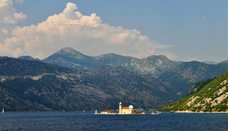 The fjords and the Church of Our Lady of the Rocks royalty free stock images